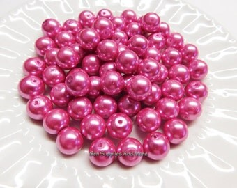 12mm Pink Glass Pearl Beads, Pink Pearl Beads, Glass Pearl Beads, Pearl Beads - 10pcs