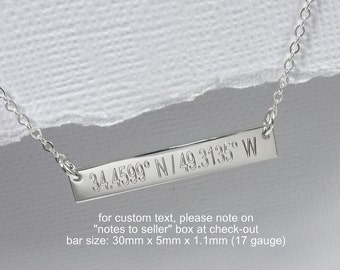 Engraved Coordinates Bar Necklace, Sterling Silver Coordinates Necklace, Gift for Mom, Layering Necklace, Girlfriend Gift, Bar Necklace