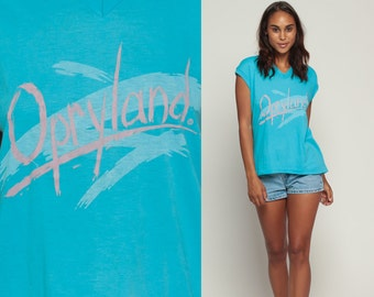 Retro TShirt OPRYLAND Shirt Themepark Muscle Tee Vintage Burnout T Shirt V Neck Graphic Print 80s Paper Thin Turquoise Blue Extra Large xl