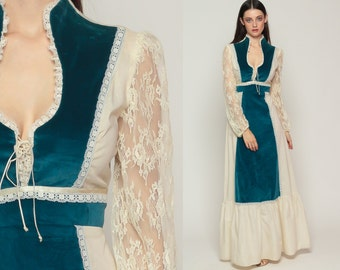 Bohemian Dress Tiered 70s Maxi LACE Boho Puff Sleeve VELVET Cream Blue Prairie 1970s Empire Waist Long Vintage Corset Retro Extra Small xs