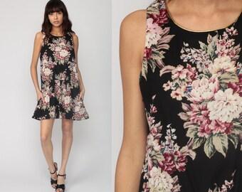 90s Mini Dress Black Floral Print Drop Waist GOLD TRIM Boho Grunge Vintage Sleeveless Minidress large