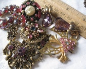 As Is Vtg Jewelry Destash Lot W Magenta Lavender Pink Includes Czech Pin Front and Frankie San Juan Paste Piece Read Full Details 8 Pieces