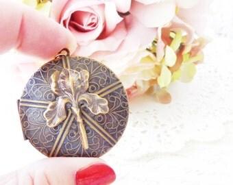 Golden Iris Locket - Round Iris Flower Locket - Large Round Photo Locket - Woodland Flower Locket