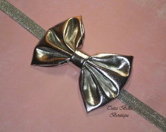 Jumbo Silver Bow Headband, Silver Baby Hair Bow, Baby Headband Silver Glitter Headband Gold Bow Toddler Bow Newborn Bow Flower Girl Headband