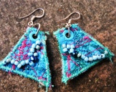 Textile Art Earrings Handmade One of a Kind