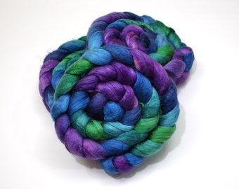 Merino Wool/ Silk Roving (50/50) (Combed Top) - Handpainted Fiber for Spinning or Felting