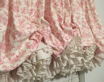 Pink Nursery Toile Balloon Curtain with Parchment Double Ruffles