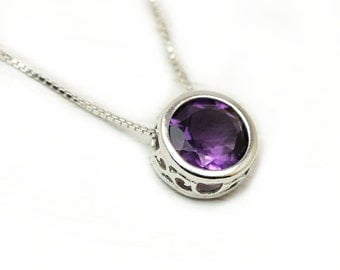 Amethyst solitaire necklace with amethyst or garnet in sterling silver, gemstone necklace