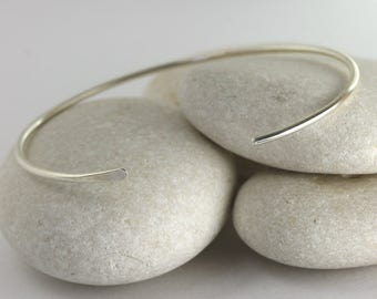 Smooth Silver Cuff Bracelet, Skinny Silver Bangle in your Custom Size, Layering Cuff