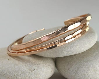 3 Hammered Cuffs in Wide, Medium, and Thin in silver, yellow, or rose gold - Stacking and layering bracelets