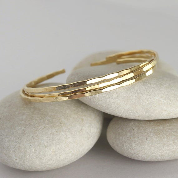 3 Thin Hammered Cuffs, Yellow Gold Bangles, handmade stacking bracelets in gold fill