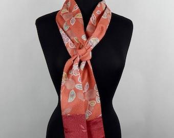 "Skinny Scarf,SILK SCARF made from Vintage Japanese Kimono Silk - 90"" length -Kimono Scarf, Narrow Scarf, Women's Neck Tie"