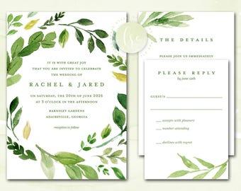Greenery Wedding Invitations, Wedding Invites, Printable Green Wedding Invitations, Laurel Leaves Wreath Invitations | DIGITAL PRINTABLE