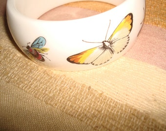 Royal Worcester England Bone China Bracelet Butterflies and Bee