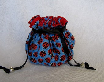 Jewelry Bag - Medium Size - Drawstring Pouch - Traveling Jewelry Tote - BITTY BUGS