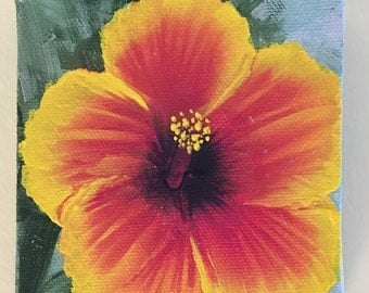 """Hibiscus, acrylic painting on a gallery wrapped 4""""x4"""" canvas, flower of Maui"""