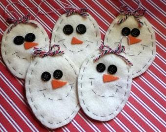 5 Handmade Felt Snowmen Ornaments
