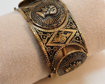 60s Wide Damacene Gold Inlay Links  Bracelet