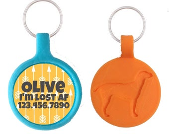 Tribal Arrow Personalized Dog ID Pet Tag Custom Pet Tag You Choose Tag Size & Colors (8 Colors!)