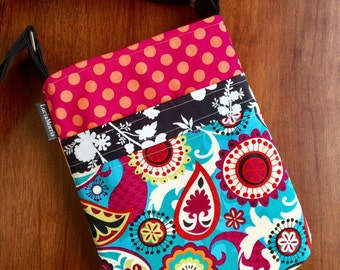 Cross-body Adustable Strap - Paisley and Chevron - whimsical - abstract