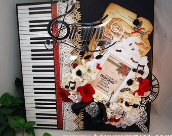 """Ooak Original Mixed Media 12x12"""" Memories & Music Stretched Canvas Shabby Chic style Home decor wall hanging"""