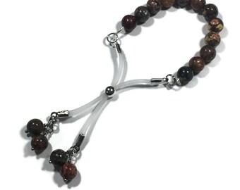 Adjustable Penis Ring Leopard Jasper Beads