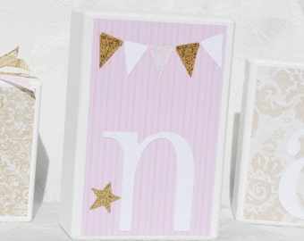 Elegant Baby Shower Personalized Name Blocks for Baby Girl in Pink and Gold with Lion . Alana