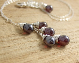 Necklace with a Cascade of Red Luster Glass Teardrops on a Sterling Silver Chain CDN-694