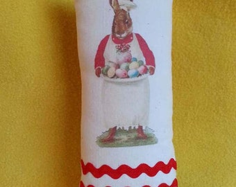Rabbit Chef With Eggs Vintage Image Pillow Bowl Filler