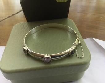 Vintage Sterling Silver Amethyst Bangle Expansion Bracelet