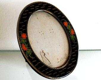 Vintage Picture Frame Cloisonne Miniature Enamel Oval Flowers Orange Black Green