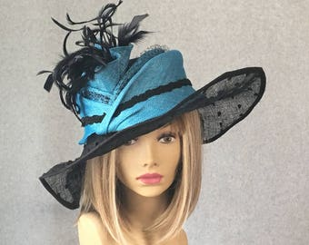 "Kentucky Derby hat, ""Nisha"" Summer Hat for the races,  large brim straw hat,  sinamay straw hat"