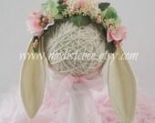 Floral Bunny Bonnet Newborn Photography Prop