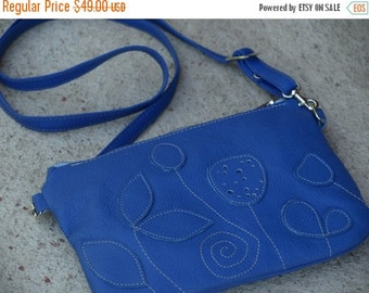 SALE Womens Leather Bag, Blue leather messenger, Womens leather bag, small purse, rustic crossbody bag, summer fashion, gift for her