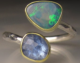 Boulder Opal and Tanzanite Ring, 18k Gold and Sterling Silver, Open Ring, size 7