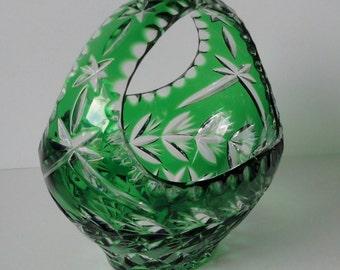Vintage BOHEMIA Emerald Green 24% Lead  Crystal Basket. Gorgeous.