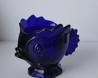 Gorgeous Cobalt Blue Fish Shaped Sugar Bowl.