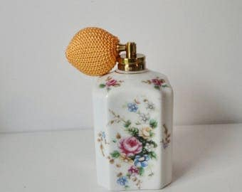 1960s Multi Color Flowers  Ceramic Atomizer Perfume Bottle.