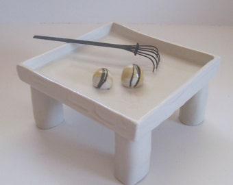 Mini Zen Garden, wooden rake and sand filler, Hand Built Porcelain