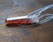 Harlequin Pendant Raw Quartz with Hematite Crystal