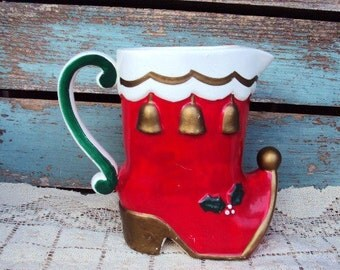 Vintage Christmas Stocking Boot Pitcher Napcoware Tea Pitcher Retro Mid Century Kitsch Decoration Display Holder Pottery Japan