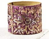 Floral Bracelet, Gold Purple Green Silver, Stencil Design, Leather Jewelry
