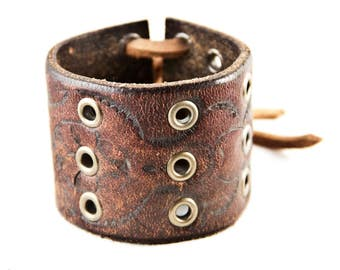 Upcycled Leather Jewelry Reclaimed Bracelet Brown Leather