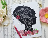 Proverbs 31 Woman, Strength And Dignity Are Her Clothing, Journal, Notebook, Diary, Floral, Handlettered, Illustration, Jotter Lined Journal