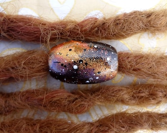 1 Galaxy Hand Painted Wood Dread Bead Large Hole Dreadlock Bead Accessories Dread Beads Accent Boho Hippie Bling Decorate your dreadlocks