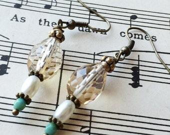 Dressy antique style earrings dangle earrings pearl and crystal earrings Victorian earrings