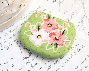 Small Pink and Green Floral Coin Purse Green Change Purse Cute Floral Zippy Pouch