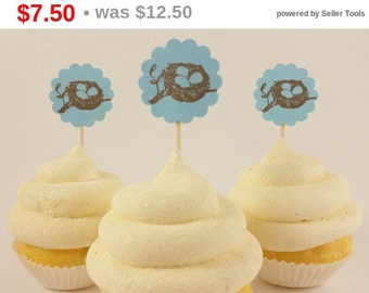 SALE Baby Shower Bird Nest Cupcake Toppers Blue Its a Boy Set of 24
