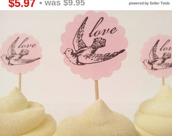 SALE Wedding Love Bird Cupcake Toppers Bridal Shower Engagement Pink Set of 20