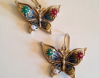 Vintage Enamel Butterfly Earrings